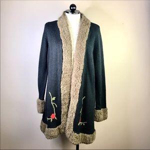 TORRID Faux Fur Collar Cuffs Cardigan Sweater 3X